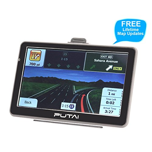 Putai GPS Navigation for Car and Truck, 7 Inch Car GPS Navigator System with High Resolution Touch Screen and Voice Reminding, Free Lifetime Maps