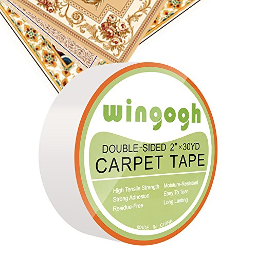 Double Sided Carpet Tape - Wingogh Multi-Purpose Double Sided Duct Tape Removable Anti Slip Non Skid Rug Pad Carpet Underlayment Adhesive Indoor and Outdoor Better than Rug Gripper, 2-Inch x 30 Yards (Runners Double Down)