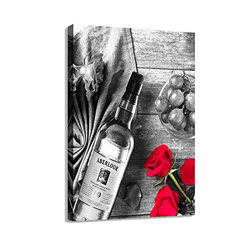 Canvas Wall Art Black White Decor Print Artwork Wine Painting Red Wine In Cups With Ice & Rose Framed Pictures Red Rose Poster Giclee For Kitchen Bar Home Decorations
