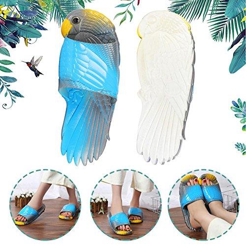 et Anti Chaussons Pantoufles Sandales Bleu Perroquet Douche Été 38 de Gris Plage Dérapantes 39 Oiseau BTXSq