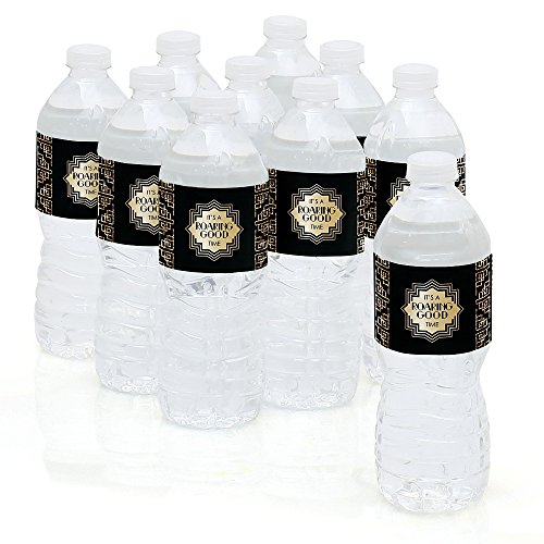Roaring 20's - 1920s Art Deco Jazz Party Water Bottle Sticker Labels - Set of 10 (Great Gatsby Prom Theme)