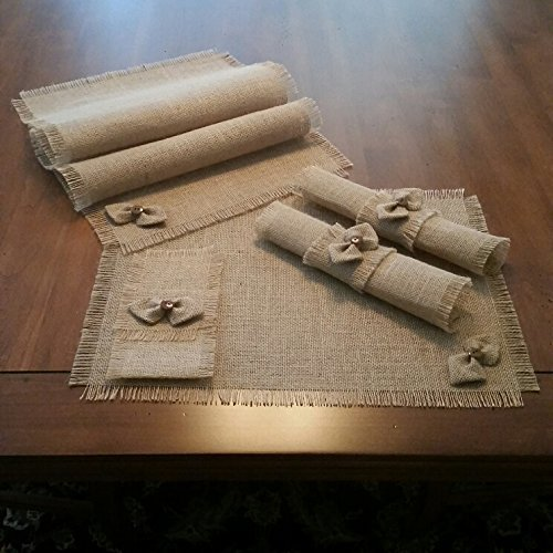 Burlap Shabby Chic Table Runners, Placemats, Silverware Holders, Napkin Rings or Decorative Napkins with Handmade Bow-tie Accent (Set of 4 or 6)