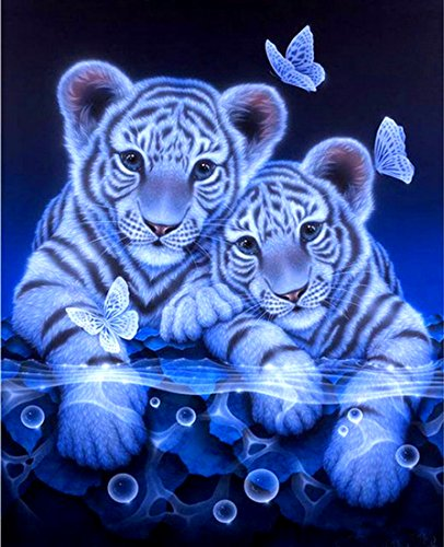 21secret 5D Diamond Diy Painting Full Drill Handmade Cute Two White Tiger and Butterfly Cross Stitch Home Decor Embroidery Kit by 21secret