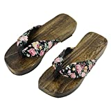Women's Japanese Style Wood Clog Flip Flops Shoes Anti-skid Floral Mules Slippers Wooden Geta Sandals (US Size 7-8, Floral Black)