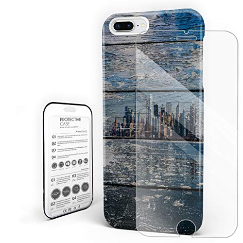 New York City Skyline On Worn Wood Phone Case for iPhone 7 Plus/iPhone 8 Plus Stylish Design Slim Anti-Fall Hard Plastic Phone Cover with Tempered Gglass Screen Protector -