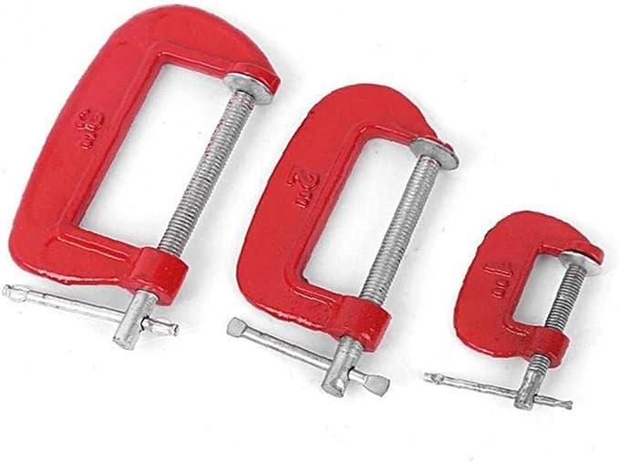 Ajuste de Altas Prestaciones G Abrazadera 3 Pulgadas C//W Suaves Cojines de mand/íbula 25mm 100mm G Abrazadera de Hierro Rojo para carpinter/ía met/álica de sujeci/ón