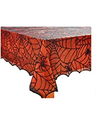 Halloween Table Cloth the halloween party table Halloween Spooky Spider Web Black Lace Tablecloth With Orange Liner 60 X 102 Rectangleoblong