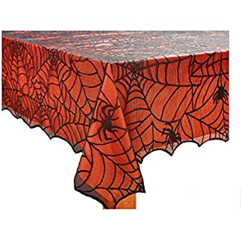 Halloween Spooky Spider Web Black Lace Tablecloth with Orange Liner (60 x 84 Rectangle/Oblong)