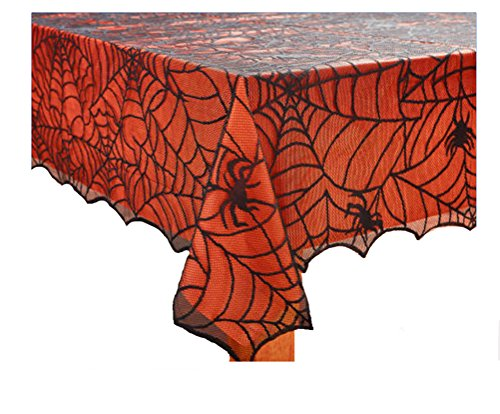 Halloween Spooky Spider Web Black Lace Tablecloth with Orange Liner (60 x 102 (Black And Orange Spider)