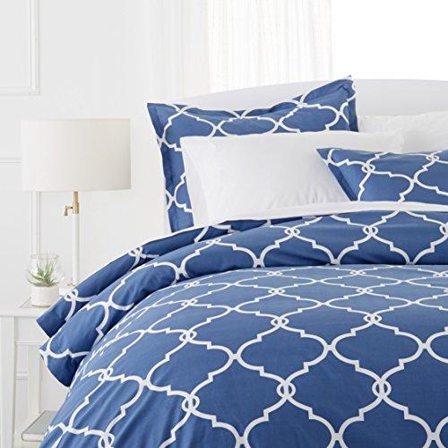 Pinzon 300-Thread-Count 100% Cotton Cool Percale Duvet Cover Set, King, Bijou - King Duvet Cover Bedding