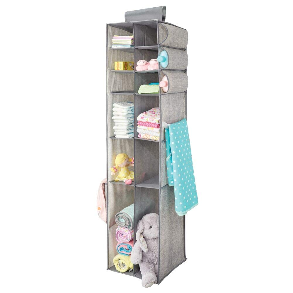 mDesign Long Soft Fabric Over Closet Rod Hanging Storage Organizer with 6 Divided Shelves, Side Pockets for Child/Kids Room or Nursery - Textured Print - Gray by mDesign
