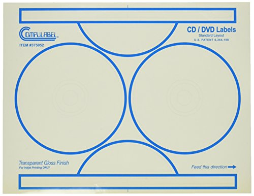 Compulabel Clear Gloss CD/DVD Labels for Inkjet Printers, 4-9/16 Inches Permanent Adhesive, 2 Per Sheet, 100 Sheets per Carton ()