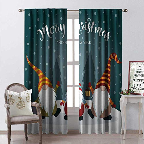 (Hengshu Snow Waterproof Window Curtain Merry Christmas and Happy New Year Typography Bearded Gnomes Doodle Characters Decorative Curtains for Living Room W72 x L84 Multicolor )