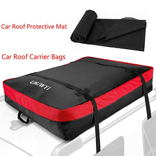 UMJWYJ Car Roof Box Waterproof Cargo Bag,420D Nylon Strong Car Roof Bag - 100% Waterproof Roof Top Cargo Bag No Rack Needed + Non Slip Roof Mat & Storage Bag, for Any Car Van or SUV (10 Cubic Feet) ()