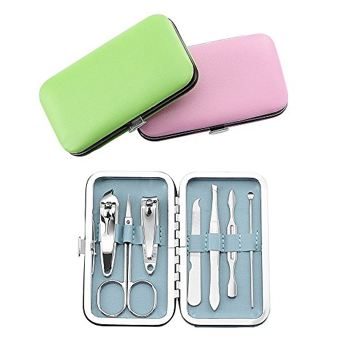 QLL3 Pack 7Pcs Manicure Set, Stainless Steel Nail Clipper Set with case, Personal Pedicure Kit for Women Men Girls (Manicure Pack)