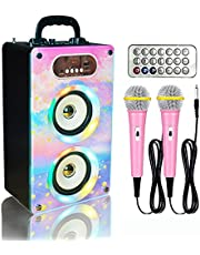 $39 » ParfaitRever Bluetooth Karaoke Machine for Kids & Adult, Wooden Rechargeable Wireless Karaoke Speaker with 2 Microphones Remote Control Panel
