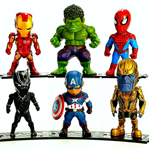 Bubicon Avengers Hero Set 6 Pieces, Action Figures Toys Marvel, Exclusive-Iron Man, Hulk,Spider-Man,Captain America, Panther and Thanatos Figure for Kids Ages 3 and Up.