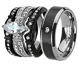 black wedding rings for her his and hers wedding ring sets couples 1882