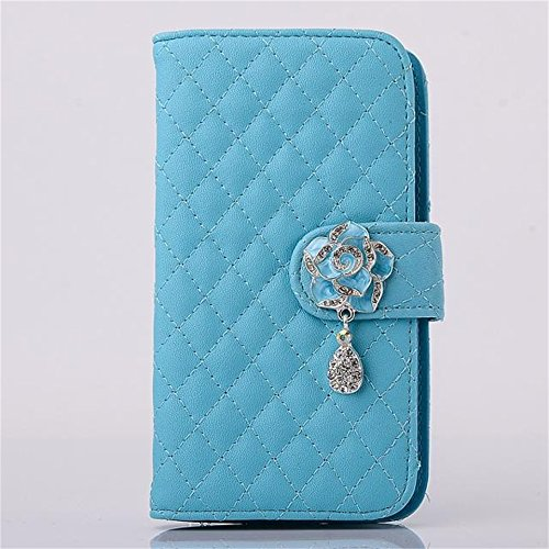 """(Case for Iphone 6 Plus/5.5 inch) Bon Venu Luxury Girl loving Camellia Leather Flip Wallet Stand Case Cover for Apple iphone 6 plus 5.5"""" case+Screen Protector (Blue)"""