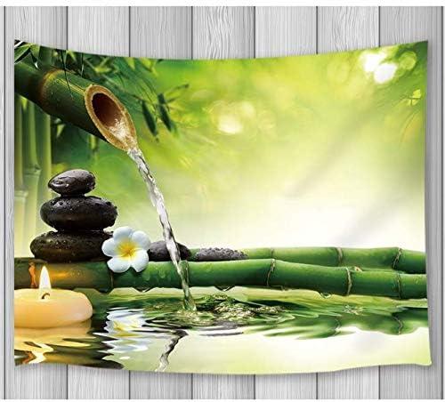 Tapiz Decoraciones de pared Tapiz de decoración Piedras negras Aguas de bambú Diseño de jardines Zen