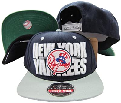 American Needle New York Yankees Block Two Tone Plastic Snapback Adjustable Plastic Snap Back Hat/Cap