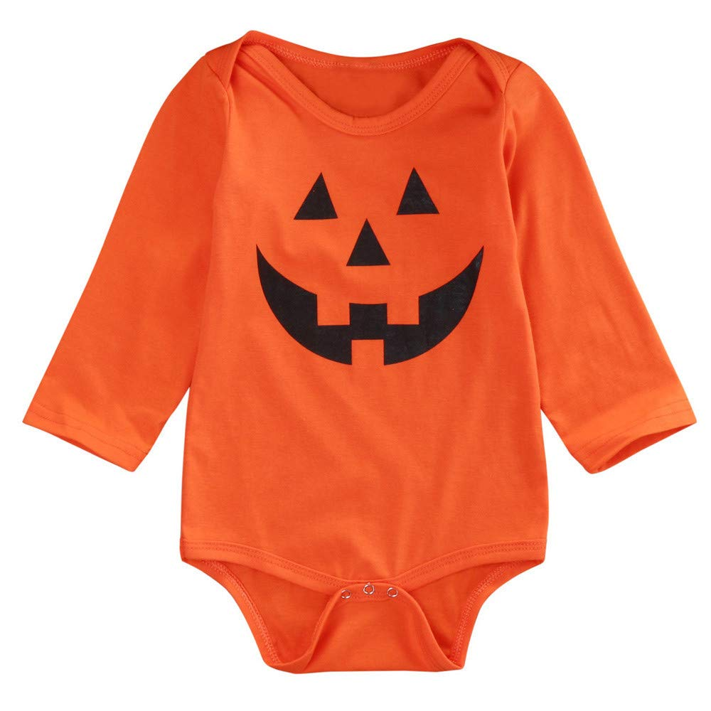 BHYDRY Fashion Kids Infant Baby Boys Girls Hallowmas Long Sleeve Romper Clothes Cotton Blend Costume Pumpkin Print Suit