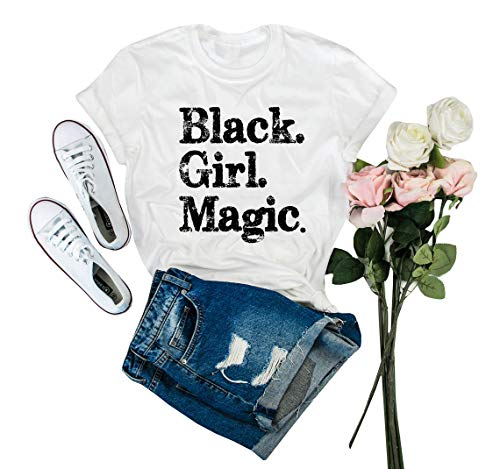 IRISGOD Womens Black Girl Magic T Shirt Summer Cute Short Sleeve Juniors Graphic Tees Tshirts