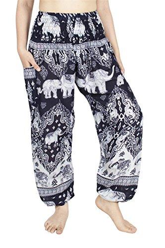 Elephant Apparel - Lofbaz Women's Rayon Smocked Waist Flowy Hippie Boho Harem Pants - Elephant 17 Navy - M