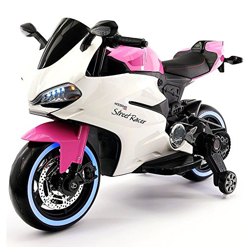 ds Ride-On Motorcycle Toy for Kids | Leather | LED Body Kit | 12V Powered | 2 Wheels | Training Wheels | (Pink) ()