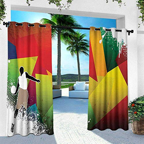 Hengshu Basketball, Balcony Curtains,Basketball Jump Background with Geometrical Shapes Paint Splashes Modern Art, W96 x L96 Inch, Multicolor
