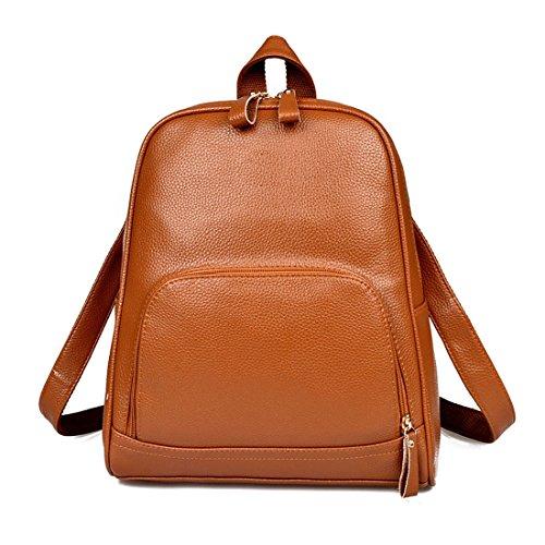 QPALZM Mode Koreanisch Trend Klassik Handtaschen Hochschule Wind Student Schnippisch PU-Leder Reise Schultern Rucksack,Brown