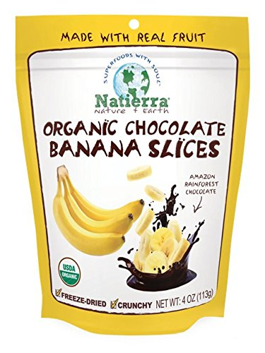 Natierra Nature's All Foods Organic Freeze-Dried and Crunchy, Chocolate Covered Banana Slices Flavor, 4 Oz ()
