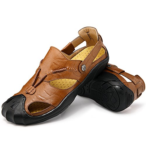 Leather Sandals Men Closed Toe Slip-on Summer Sandal Slipper Fashion Beach Casual Walking Shoes Brown ThkF3x4Kp