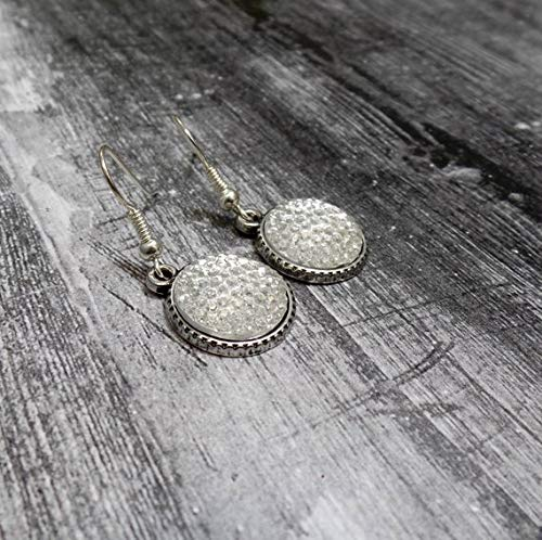 hongnguyen White Faux Druzy Earrings - Silver Druzy Earrings - Pave Style Earrings - Faux Rhinestone Earrings