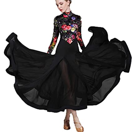2e0e492c8 WESEASON Latin Dresses Women Latin Dress for Girls High Collar top Floral  Print Salsa Cha Cha