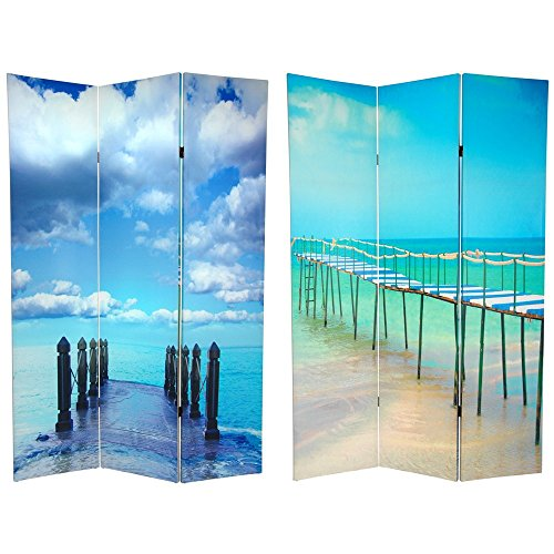 Divider Room Beach - Oriental Furniture 6 ft. Tall Double Sided Ocean Room Divider