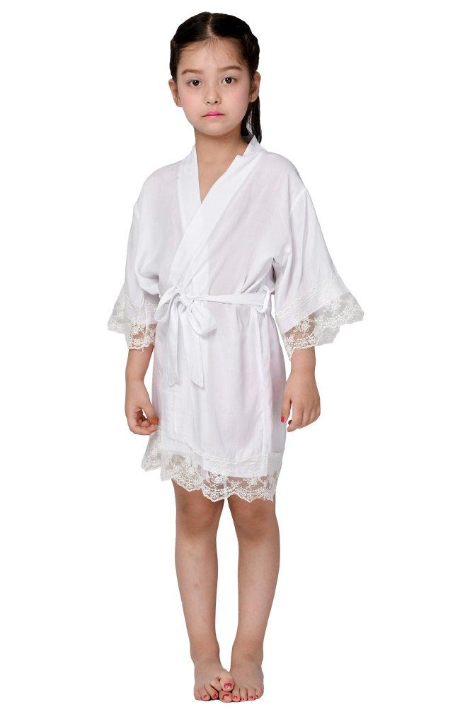 Cotton flower Girl Kimono robe,Bridal party kids lace robe ,Junior bridesmaid robe for wedding gift (8, WHITE)