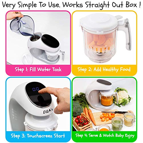 51LCk3Y4suL - Baby Food Maker   Baby Food Processor Blender Grinder Steamer   Cooks & Blends Healthy Homemade Baby Food In Minutes   Self Cleans   Touch Screen Control   6 Reusable Food Pouches