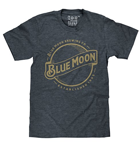 Blue Moon Gold Print Logo  Soft Touch Tee-x-large Indigo Black Heather - Logo Indigo Blue T-shirt