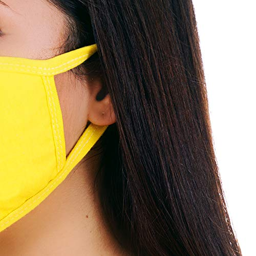 MOJIGEAR Grin Face Premium Cotton Cloth Face Mask - Reusable and Machine Washable with Pollution Filter - Unisex for Teens Men Women - Yellow
