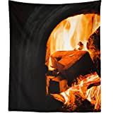 Westlake Art - Wall Hanging Tapestry - Fireplace Fire - Photography Home Decor Living Room - 51x60in