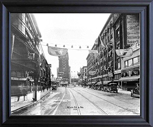 Impact Posters Gallery Vintage City Kansas Missouri, Main St. & 9th 1926 Old Model T Car Black And White Black Framed Wall Decor Art Print Picture (19x23) - Missouri Art Glass Frame