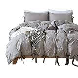 HOTNIU 2 Piece Tie Design Bedding Duvet Cover Set - All-Season Soft Light-Weighted Bedspread Comforter Set - Comfortable Breathable Luxurious Style Bedding Set with 1 pc Pillow Cover (Twin, Grey)