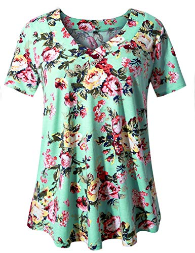 (U.Vomade Women's Plus Size Shirt Summer Short Sleeve Blouses Floral Tunics Green Flower 3XL)