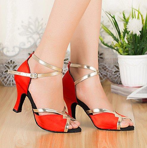 Toe Wedding Red Evening 5cm Tango Ballroom Modern Satin 7 Heel MGM Womens Shoes Joymod Peep Starp Ankle Latin Synthetic Dance Zxn8qwX40