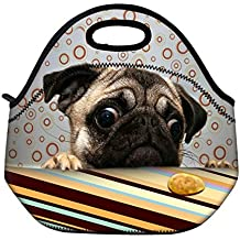 Newplenty Cute Pug Neoprene Reusable Insulated Lunch Tote Bag School Picnic Thermal Carrying Gourmet Lunchbox Container Organizer Storage Cooler For Men, Women, Adults, Kids, Girls, Boys