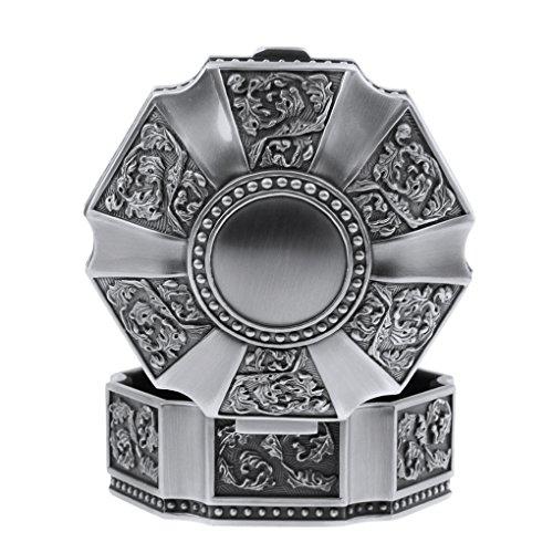 - Vintage Antique Silver Chest Box Engraving Treasure Jewelry Box Classic Retro Storage Organizer (Chrome Hearts)