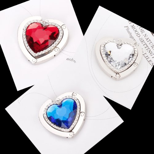 Generic plateado forma de coraz/ón plegable bolso de mano bolso percha mesa gancho para mujer regalo rojo//azul//plata