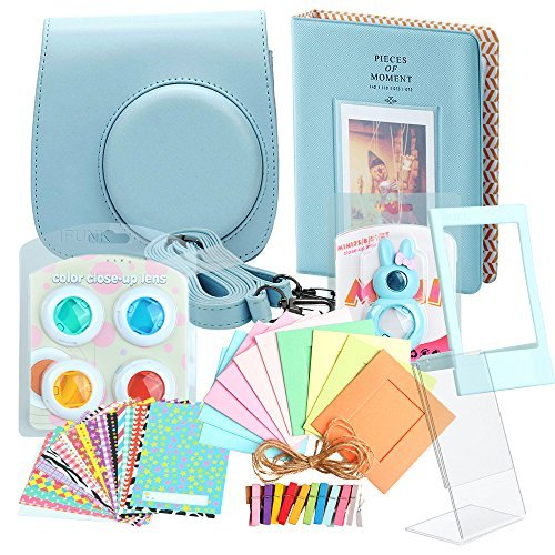Minoniso Fujifilm Instax Mini 8 Camera Accessory Set Bundle with Camera Case, Book Album, Color Lens Set, Selfie Lens, Wall Hanging Frames, Film Frame and Stickers