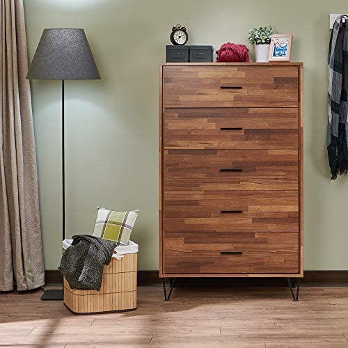 Henf 5 Drawer Dresser, Modern Chest of Drawers, Dresser Chest with Storage Drawer Organizer with Solid Wood Frame for Bedroom, Living Room, Closet, Entryway, Hallway Walnut